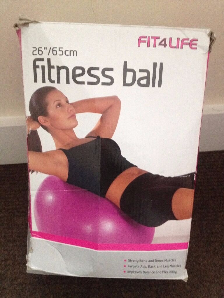 """Fitness Ball 2665 CMin Great Yarmouth, NorfolkGumtree - Fitness Ball 26"""" /65 CM Never used. Comes with pump , fitness guide and original box. The Box is damage"""