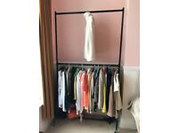 Two Tier Heavy Duty Clothes Rail Garment Hanging Rack In Black - Metal (4ft Long x 7ft or 4ft Tall)