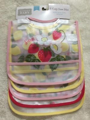 Set of 5 Hudson Baby PEVA Waterproof Bibs w/ Crumb Catcher Pocket Sweet (Fruit Bib Set)
