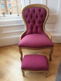 Victorian spoonback chair x 2 & footstool - Newly refurbished
