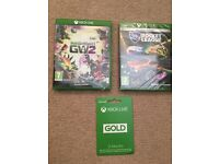 X BOX ONE games & 12 Month Gold live membership (unredeemed)