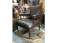 Vintage Antique Leather Armchair