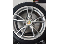 porsche genuine alloys with winter tyres as new