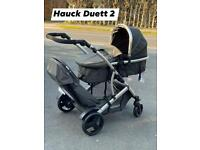 EXDISPLAY HAUCK DUETT 2 TANDEM DOUBLE PRAM PUSHCHAIR FROM BIRTH -15 KG WITH CARRYCOT - PARENT FACING