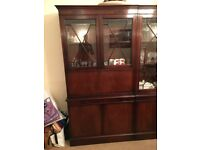 Mahogany Veneer Glass Cocktail Drinks Display Cabinet Bureau Dresser vintage