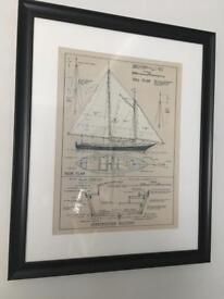 Nautical print in frame