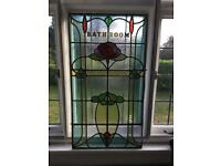 Art Nouveau Stained Glass Leaded Panel