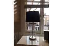 Large contemporary glass and silver lamp and black linen lampshade