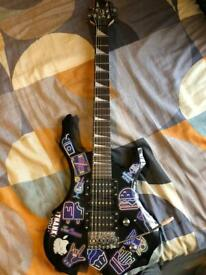 Glarry black flamed electric guitar