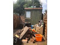Bricks, shed, posts, slabs and bbq