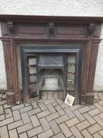 Victorian Cast Iron Fireplace Surround and Tiles