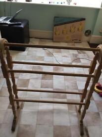 Vintage Beech wood towel rail