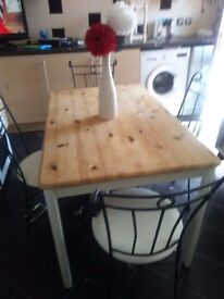 Pine table four chairs