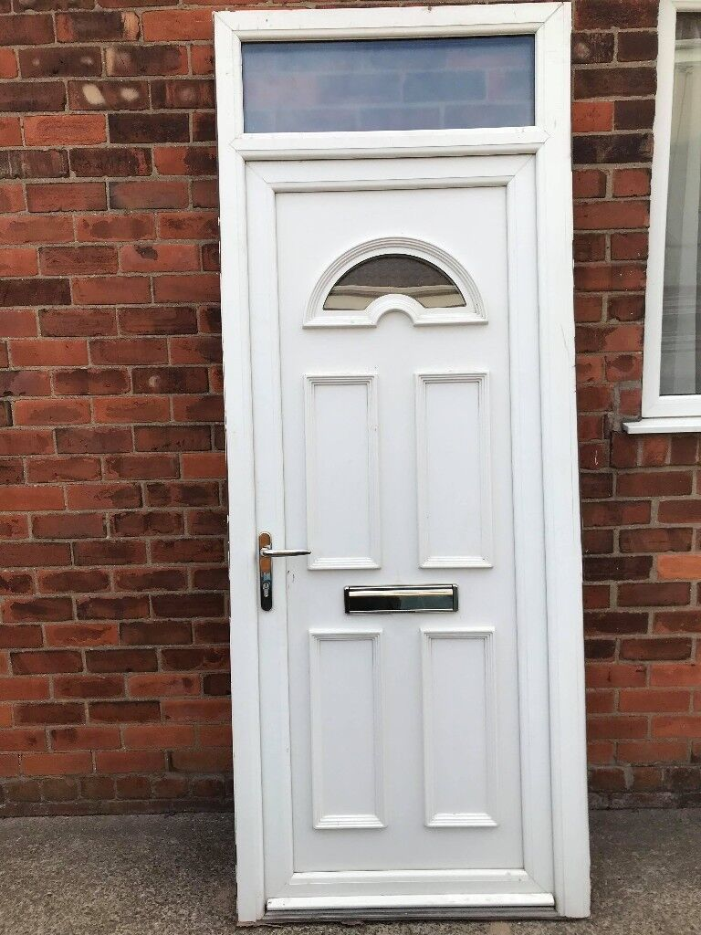 White pvc door with frame and toplight | in Hull, East Yorkshire ...