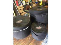 Ahead Amour kick drum, high tom & floor tom drum bags