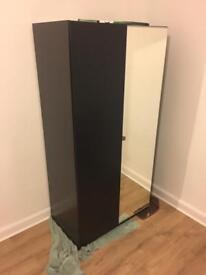 Dark wooden IKEA double wardrobe, mirrored door.