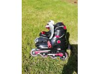 Inline skates adjustable size barely used