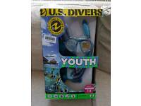 U.S. DIVERS Silicone Snorkeling Set Youth Medium Size 1-4 6+ Years ALL TOP SPEC