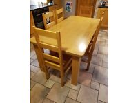 Farmhouse table & 6 chairs Solid Maple