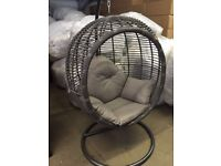 Large Luxurious Grey Rattan/Wicker Garden Hanging Pod Chair/Swing with Comfort Cushion