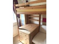 Fantastic Thuka pine High sleeper ,desk ,bookcase, sofa bed and extra chest of drawers if required