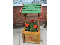 Wooden Wishing Well Plant Pot