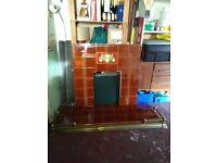 Fire hearth and tiled back panel plus brass fender