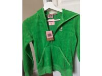 BNWT Girls Juicy Couture Bright Green Hooded Zipper Size 10