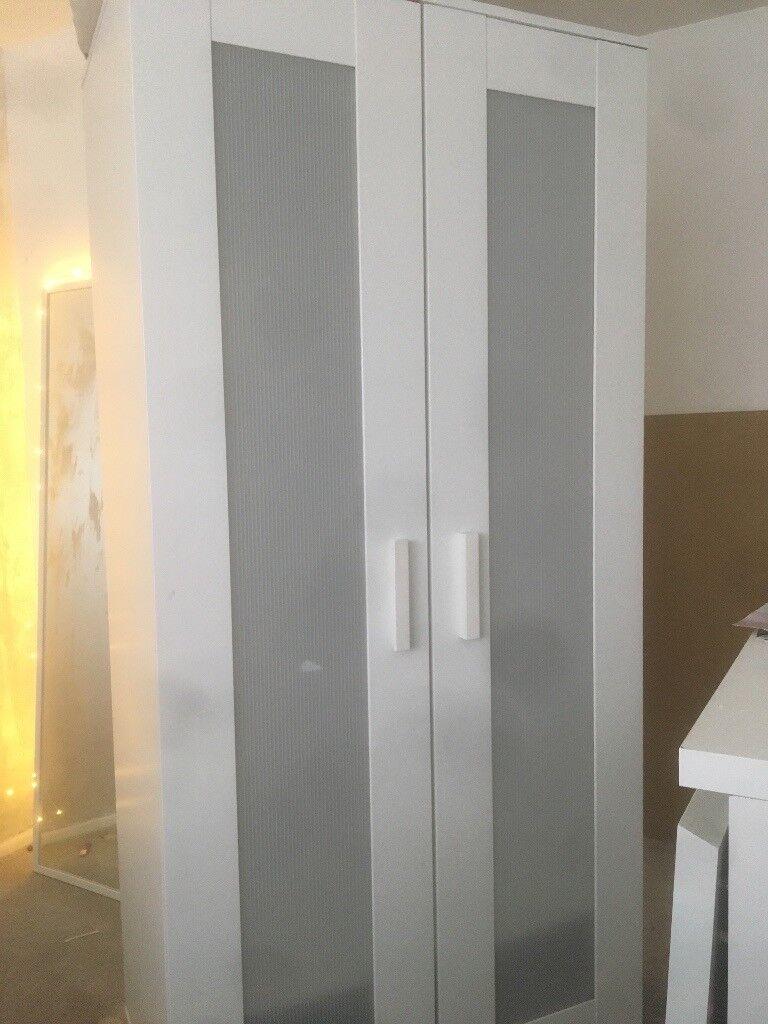 White malm 2 door wardrobe. Great condition