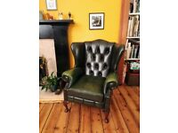 Chesterfield Club & Queen Anne Chairs in Forest Green
