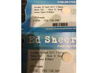 Very front block 102 row e ed sheeran 2 tickets Sun 23rd April