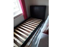 Leather look single bed frame good condition