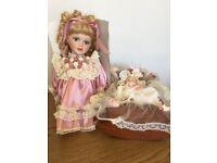 Leonardo Porcelain Doll. ( PAULA WITH BABY IN COT )
