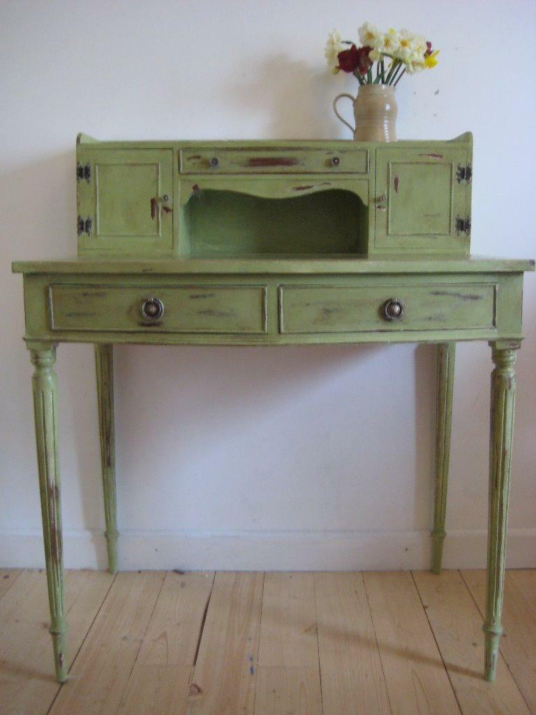 Unique Writing Desk In Sage Green Distressed Shabby Chic