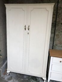 Lovely hand painted cream antique wardrobe