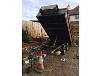 Tipping trailer -10FT long by 5FT wide (full new re-wire , 2 fixed winches with control lead