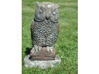 Vintage Cute Cast Stone Eagle Owl Garden Ornament Garden Statue 25cm Tall