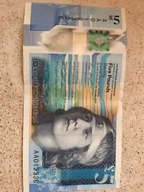 AA01 rare £5 note first printed, very rare and valuable