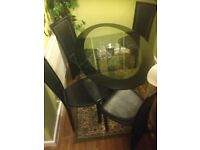 Oval glass table and four chairs
