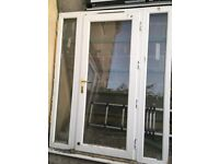 Double glazed patio door - white with gold finish