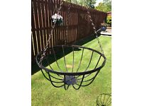 3 x Large Black quality hanging baskets for garden flowers plants