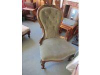 Antique Victorian Mahogany Green Button Back Spoon Chair Bedroom hall Nursing Display