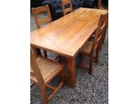 """Large Solid Oak """"Grange"""" Farmhouse style table and matching chairs"""