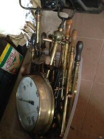 Brass burning guns pumps clocks tools