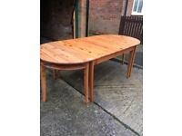 Antique pine very versatile table and 6 chairs
