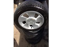 FORD PUMA FIESTA FOCUS FAN BLADE STYLE ALLOY WHEELS AND TYRES ONLY £85 FOR THE SET