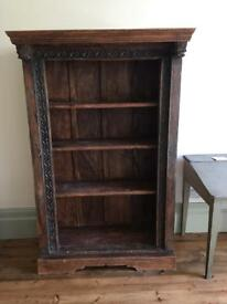 Beautiful large solid dark wood engraved shelving unit