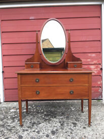 Antique Edwardian Mahogany Dressing Table with oval mirror