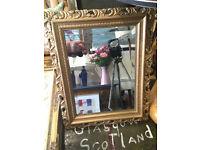 Striking Ornately Carved Gilt Framed Rectangular Bevelled Glass Dressing Table Mirror