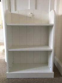 Children's white wooden book case
